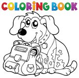 Coloring book dog with schoolbag theme 1 Royalty Free Stock Photos