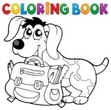 Coloring book dog with schoolbag theme 2 Royalty Free Stock Photos
