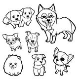 Coloring Book Dog set vector. Image of cartoon dog isolated on white background Stock Photos