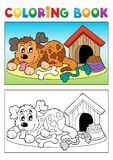 Coloring book dog theme 3 Royalty Free Stock Photos
