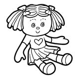 Coloring book, Doll royalty free illustration