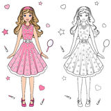Coloring book doll. In a pink dress Stock Images