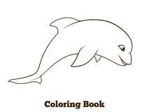 Coloring book dolphin cartoon educational Royalty Free Stock Photo