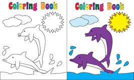 Coloring Book Dolphines Sun Stock Image
