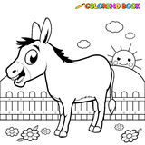 Coloring book Donkey. A black and white outline image of a cartoon donkey at the farm. Coloring book page vector illustration