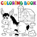 Coloring book donkey and farm. Eps10 vector illustration royalty free illustration
