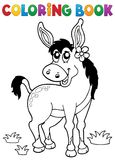 Coloring book donkey with flower. Eps10 vector illustration vector illustration