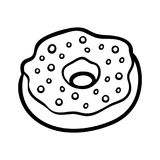 Coloring book, Donut royalty free illustration