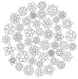 Coloring book doodle flowers Royalty Free Stock Photography