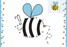 Coloring book dot to dot. The bee Stock Photos