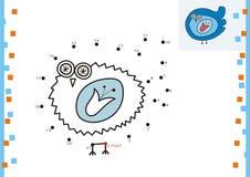 Coloring book dot to dot. The bird (1). Coloring book dot to dot Stock Photo