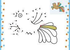 Coloring book dot to dot. The bird (3). Coloring book dot to dot Royalty Free Stock Photography