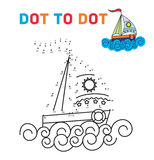 Coloring book dot to dot. The boat. For teaching. Young children. Connect the dots by numbers and paint a picture. Vector illustration Royalty Free Stock Image