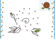 Coloring book dot to dot. The snail. Coloring book dot to dot Royalty Free Stock Images