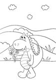 Coloring book with dragon Stock Images