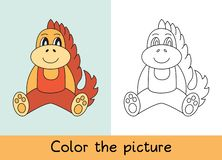 Coloring book. Dragon. Cartoon animall. Kids game. Color picture. Learning by playing. Task for children vector illustration