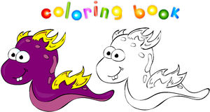 Coloring book dragon-monster Stock Image