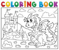 Coloring Book Dragon Near Castle Theme 2 Royalty Free Stock Images