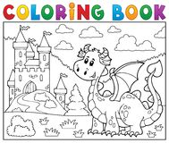 Coloring book dragon near castle theme 1 Stock Images