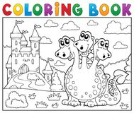 Coloring book dragon near castle theme 3 Royalty Free Stock Photography
