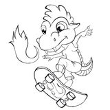 Coloring book  dragon skater. Clip art for children. Royalty Free Stock Images