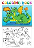 Coloring book dragon theme image 4 Royalty Free Stock Photography