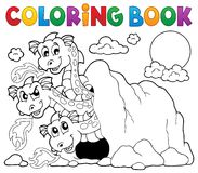 Coloring book dragon theme image 5 Royalty Free Stock Image
