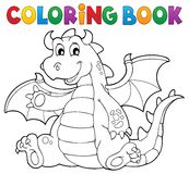 Coloring book dragon theme image 6 Royalty Free Stock Images