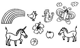 Coloring book - drawings about hobbies with an unicorn and a butterfly for children also available as a vector drawing vector illustration
