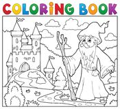 Coloring book druid near castle Stock Photos