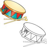 Coloring book. Drum and drumsticks Royalty Free Stock Image
