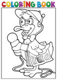 Coloring book duck reporter theme 1 Royalty Free Stock Photography