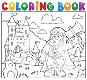 Coloring book dwarf warrior theme 2. Eps10 vector illustration Stock Image