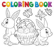 Free Coloring Book Easter Basket And Rabbits Stock Photography - 84220892