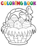 Coloring book Easter basket theme 1 Royalty Free Stock Images