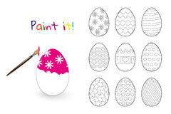 Coloring book. Easter decorated eggs set. On white background Stock Images