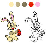 Coloring book. Easter rabbit with color Royalty Free Stock Image
