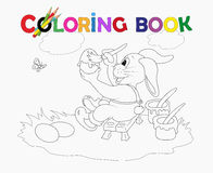 Coloring Book Easter rabbit colored eggs Stock Photography