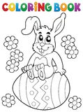 Coloring book Easter rabbit theme 5 vector illustration