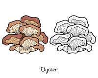 Coloring book. Edible mushrooms, oyster Stock Photos