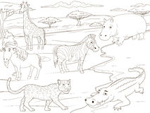 Coloring book educational game  African savannah Royalty Free Stock Photography