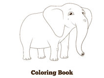 Coloring book elephant african animal cartoon Stock Photography