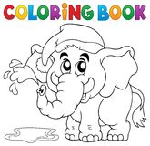 Coloring book elephant with hat Royalty Free Stock Images