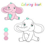 Coloring book elephant kids layout for game Royalty Free Stock Images