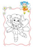 Coloring book - fairy 2 royalty free stock photography