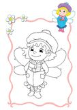 Coloring book - fairy 4 stock illustration