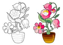 Coloring book with fairy flower Royalty Free Stock Image
