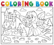 Coloring book fairy near castle Royalty Free Stock Photo