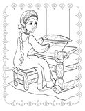 Coloring Book Of Fairy Tale Beautiful Girl Works stock image