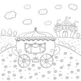 Coloring book fairy tale carriage and magic castle design for kids. Stock Photo